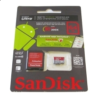 SanDisk card microSDXC 64GB si adaptor SD inclus